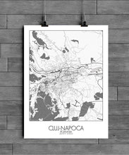 Load image into Gallery viewer, Mapospheres Cluj-Napoca Black and White full page design poster city map