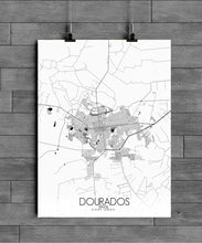 Load image into Gallery viewer, Mapospheres Dourados Black and White full page design poster city map