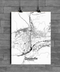 Mapospheres Dushanbe Black and White full page design poster city map