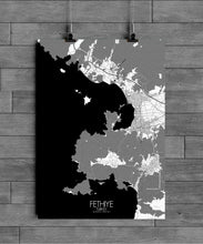 Load image into Gallery viewer, Mapospheres Fethiye Black and White full page design poster city map