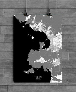 Mapospheres Fethiye Black and White full page design poster city map