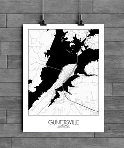 Mapospheres Guntersville Black and White full page design poster city map