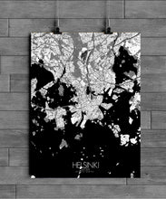 Load image into Gallery viewer, Mapospheres Helsinki Black and White full page design poster city map