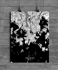 Mapospheres Helsinki Black and White full page design poster city map