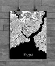 Load image into Gallery viewer, Mapospheres Istanbul Black and White dark full page design poster city map