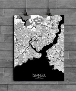 Mapospheres Istanbul Black and White dark full page design poster city map