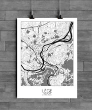 Load image into Gallery viewer, Mapospheres Liege Black and White full page design poster city map