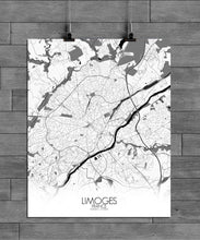 Load image into Gallery viewer, Mapospheres Limoges Black and White full page design poster city map