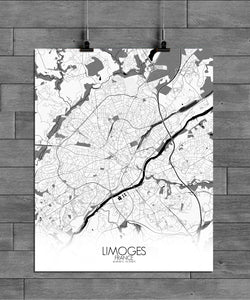 Mapospheres Limoges Black and White full page design poster city map
