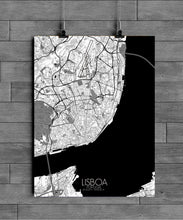 Load image into Gallery viewer, Mapospheres Lisbon Black and White full page design poster city map