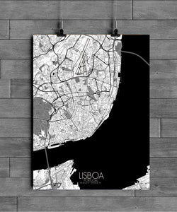 Mapospheres Lisbon Black and White full page design poster city map