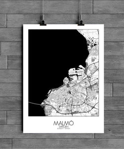 Mapospheres Malmo Black and White full page design poster city map