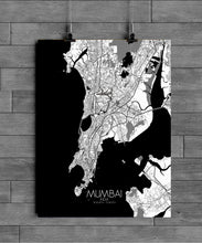 Load image into Gallery viewer, Mapospheres Mumbai Black and White full page design poster city map