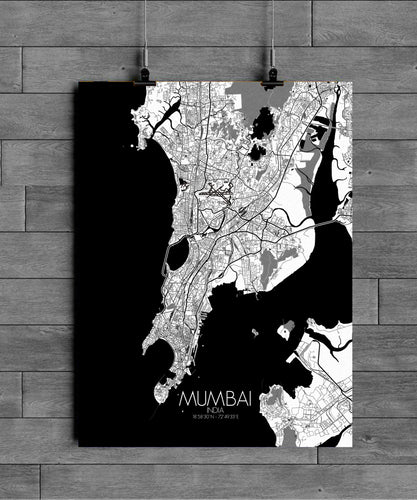 Mapospheres Mumbai Black and White full page design poster city map