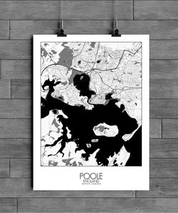 Mapospheres Poole Black and White full page design poster city map