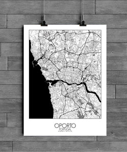 Mapospheres Porto Black and White full page design poster city map