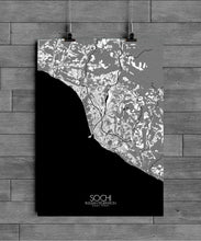 Load image into Gallery viewer, Mapospheres Sochi Black and White full page design poster city map