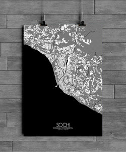 Mapospheres Sochi Black and White full page design poster city map