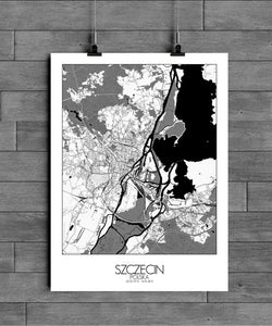 Mapospheres Szeczin Black and White full page design poster city map
