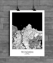 Load image into Gallery viewer, Mapospheres Trondheim Black and White full page design poster city map