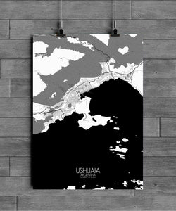 Mapospheres Ushuaia Black and White full page design poster city map