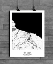 Load image into Gallery viewer, Mapospheres Whitby Black and White full page design poster city map