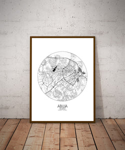 Mapospheres Abuja Black and White dark round shape design poster city map