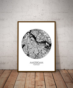 Mapospheres Amsterdam Black and White dark round shape design poster city map