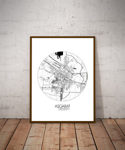 Mapospheres Ashgabat Black and White dark round shape design poster city map