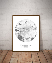 Load image into Gallery viewer, Mapospheres Cluj-Napoca Black and White dark round shape design poster city map