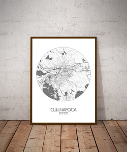 Mapospheres Cluj-Napoca Black and White dark round shape design poster city map
