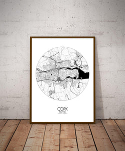 Mapospheres Cork Black and White dark round shape design poster city map