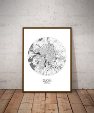 Load image into Gallery viewer, Mapospheres Dijon Black and White dark round shape design poster city map