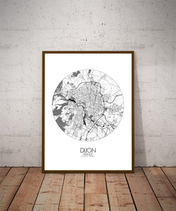 Mapospheres Dijon Black and White dark round shape design poster city map