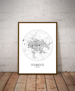 Mapospheres Dourados Black and White dark round shape design poster city map