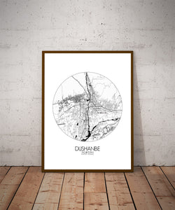 Mapospheres Dushanbe Black and White dark round shape design poster city map