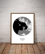 Load image into Gallery viewer, Mapospheres Fethiye Black and White dark round shape design poster city map