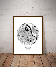 Load image into Gallery viewer, Mapospheres Hanoi Black and White dark round shape design poster city map