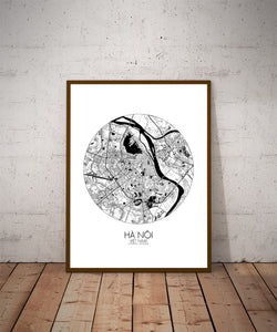Mapospheres Hanoi Black and White dark round shape design poster city map