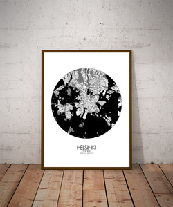 Mapospheres Helsinki Black and White dark round shape design poster city map