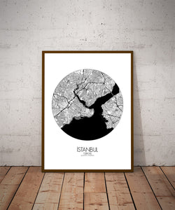 Mapospheres Istanbul Black and White dark round shape design poster city map