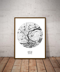 Mapospheres Liege Black and White dark round shape design poster city map