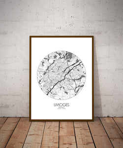 Mapospheres Limoges Black and White dark round shape design poster city map