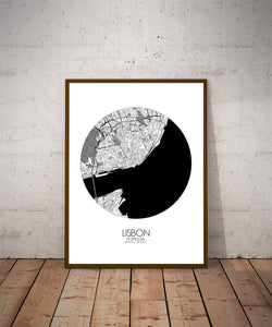 Mapospheres Lisbon Black and White dark round shape design poster city map