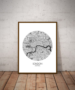 Mapospheres London Black and White dark round shape design poster city map