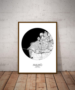 Mapospheres Malmo Black and White dark round shape design poster city map