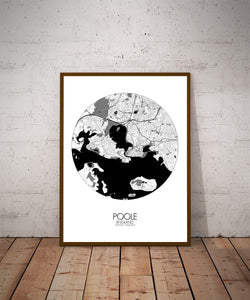 Mapospheres Poole Black and White dark round shape design poster city map