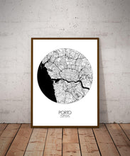 Load image into Gallery viewer, Mapospheres Porto Black and White dark round shape design poster city map