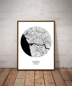 Mapospheres Porto Black and White dark round shape design poster city map