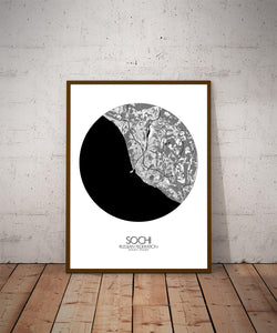 Mapospheres Sochi Black and White dark round shape design poster city map